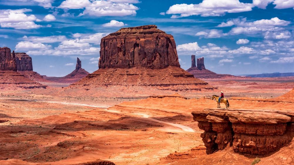 Rider in the Monument Valley wallpaper