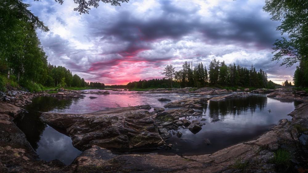 Kiiminkijoki River at sunrise wallpaper