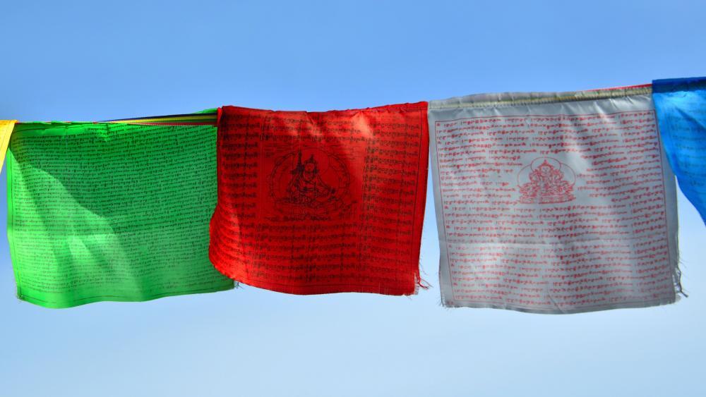 Buddhist prayer flags wallpaper