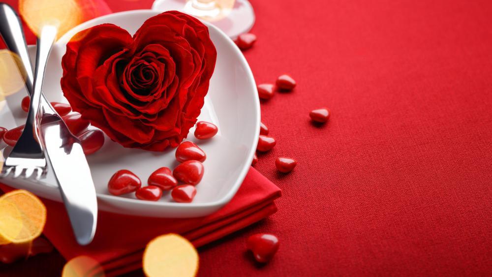 Romantic tableware wallpaper