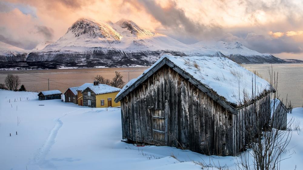 Snowy barn wallpaper