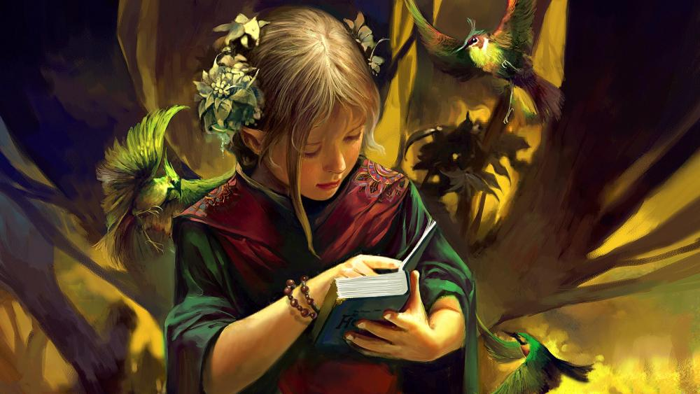 Elf child reads a book wallpaper