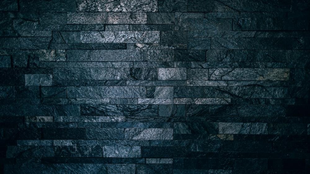 Black stone wall wallpaper