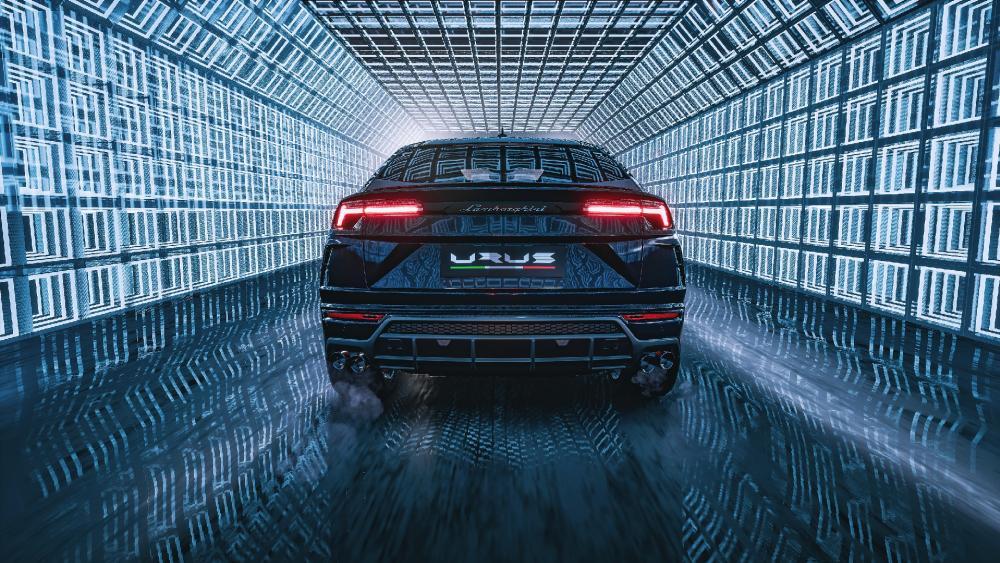 Lamborghini Urus rear view wallpaper