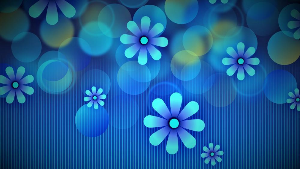 Blue flowery graphics wallpaper