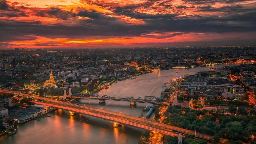 Bangkok at sunset wallpaper