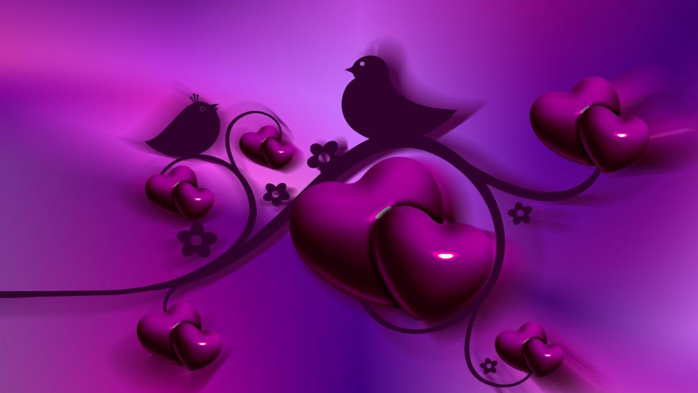 Romantic purple graphics wallpaper