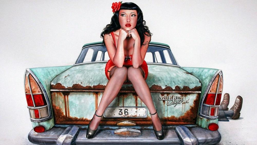 Pin-up girl on a vintage car wallpaper
