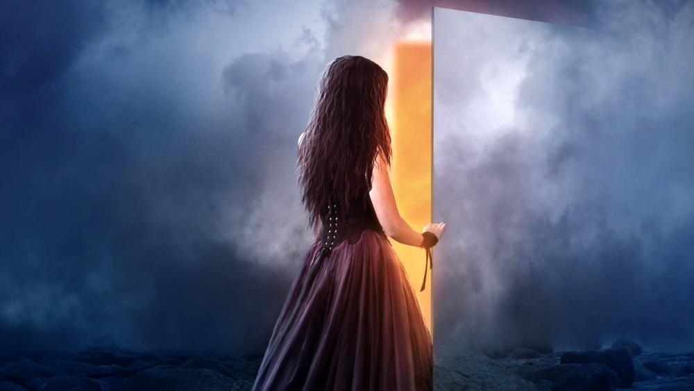 A door to the light wallpaper