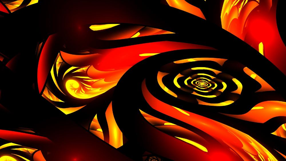 Orange fractal art wallpaper
