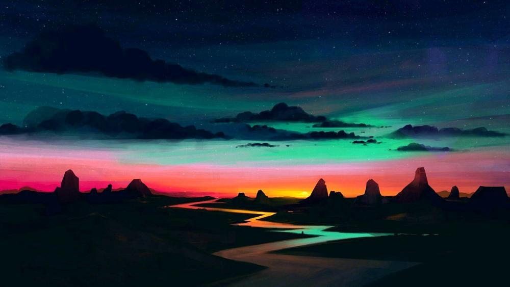 Night fantasy landscape wallpaper