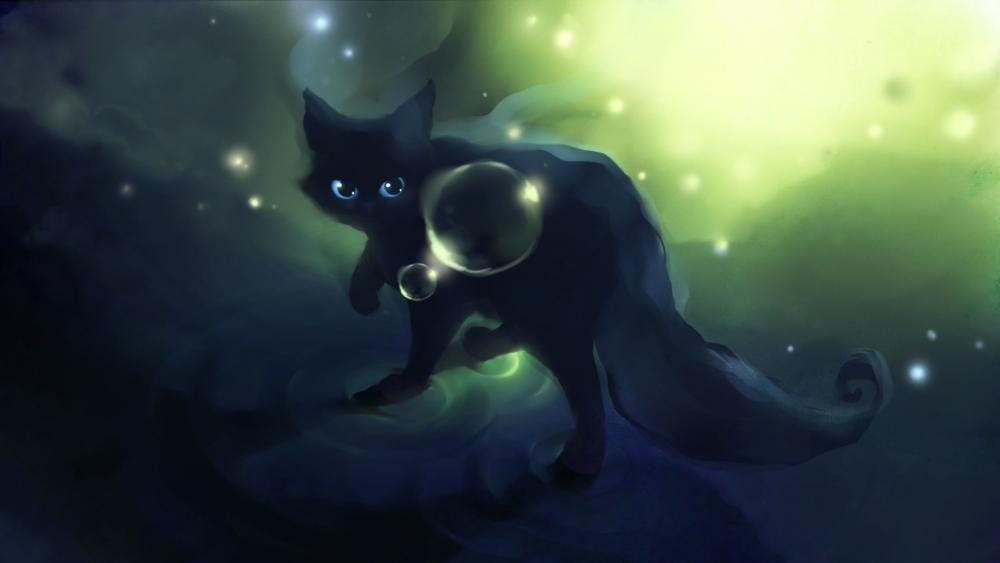 Black anime cat wallpaper