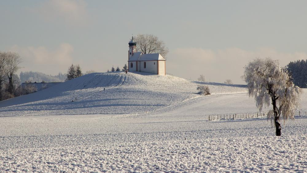 Snowy chapel wallpaper