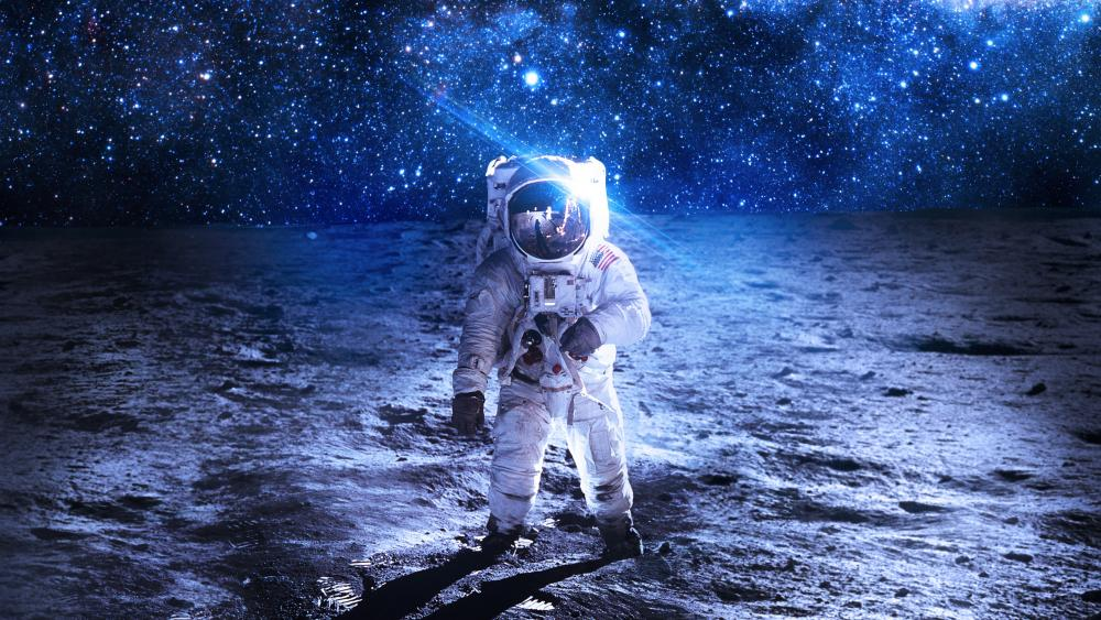 Astronaut on a planet surface wallpaper