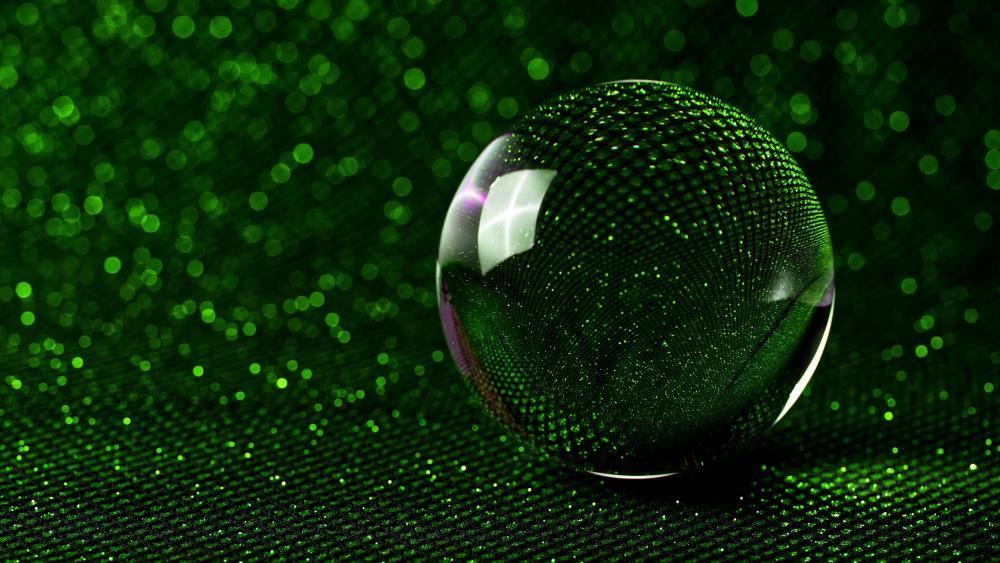 3D green crystal ball wallpaper