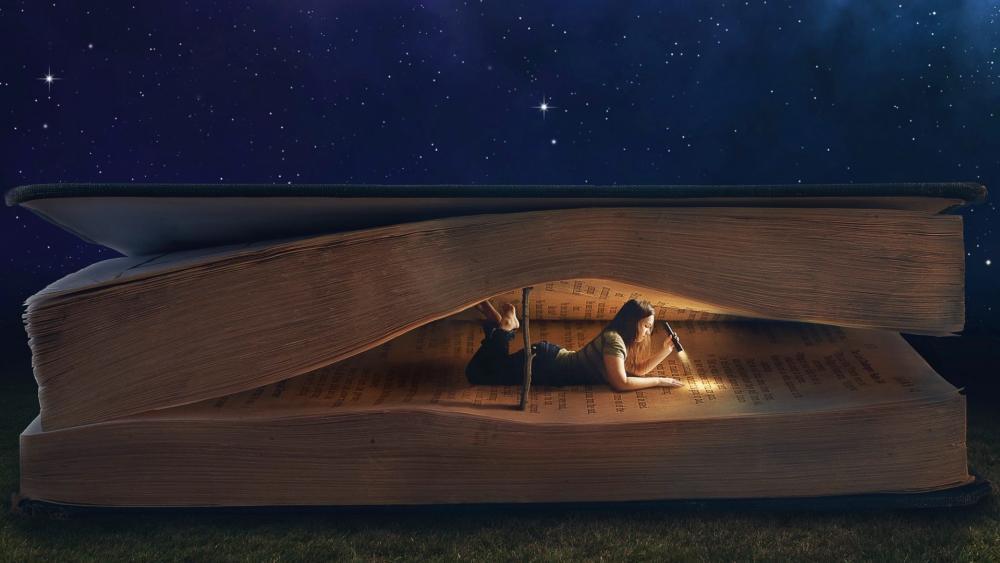 Reading a book wallpaper