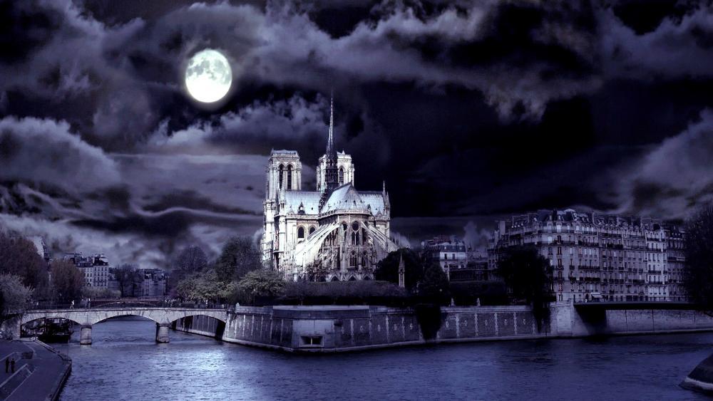 Notre Dame De Paris at full moon wallpaper