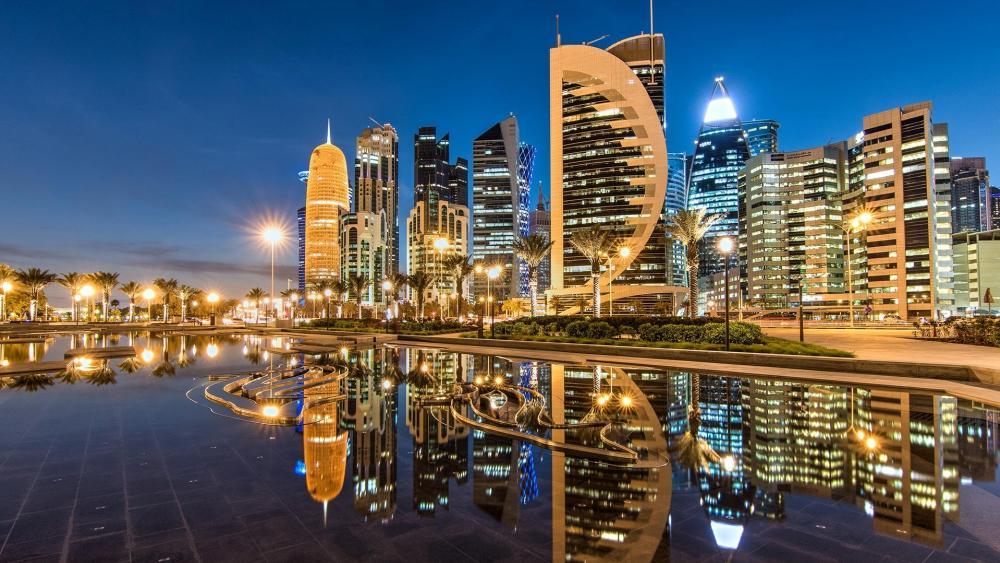 Doha nigh city lights wallpaper