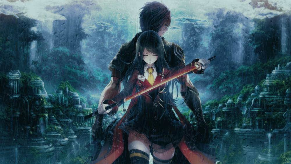 Anime Schoolgirl Samurai wallpaper