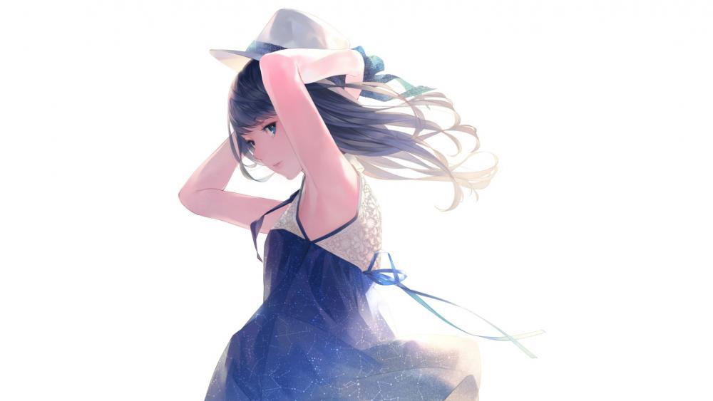 Anime girl in hat wallpaper