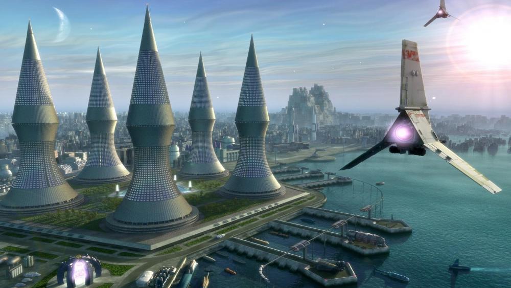 Scifi city from the future wallpaper