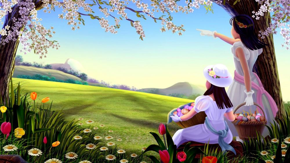 Girls with Easter eggs on a spring field - Naive painting art wallpaper
