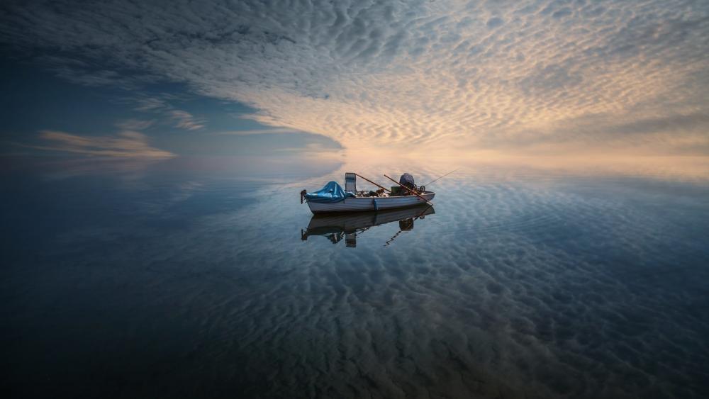 Reflected fishing boat wallpaper