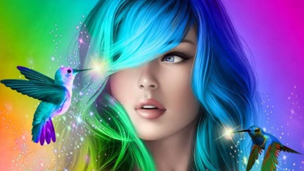 Colorful girl wallpaper