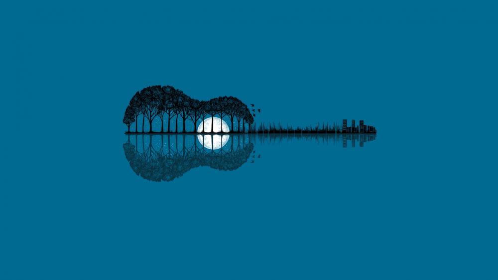 Guitar reflection wallpaper
