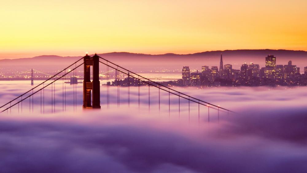 Fog over the Golden Gate Bridge wallpaper