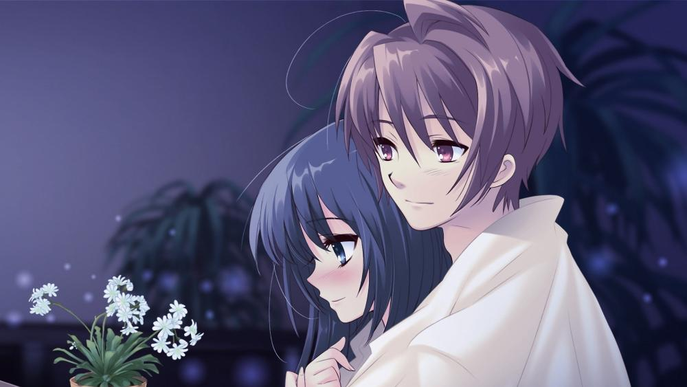 Cute anime coupl in love wallpaper