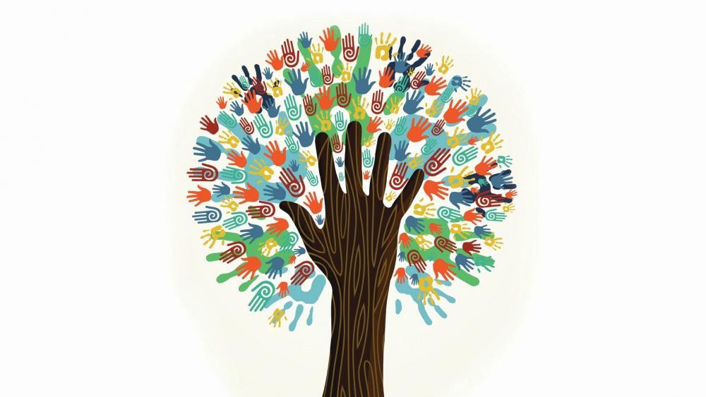 Hand tree wallpaper