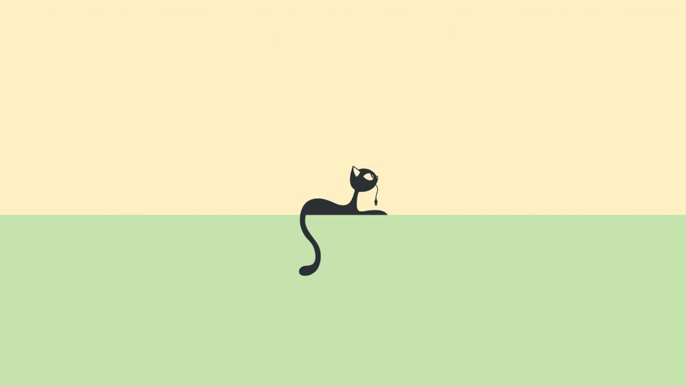 Minimalist black cat wallpaper