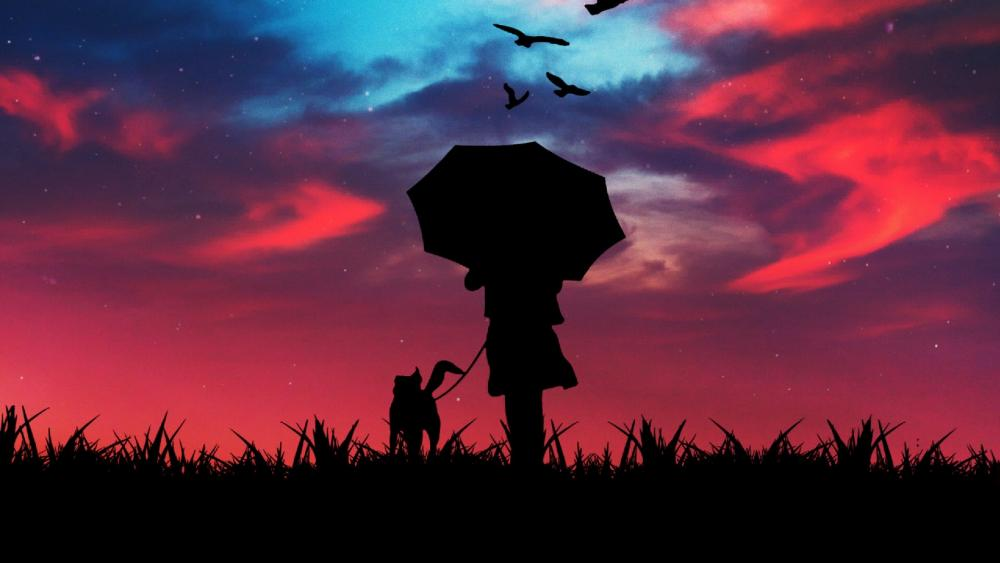 Walk with a dog at dusk wallpaper