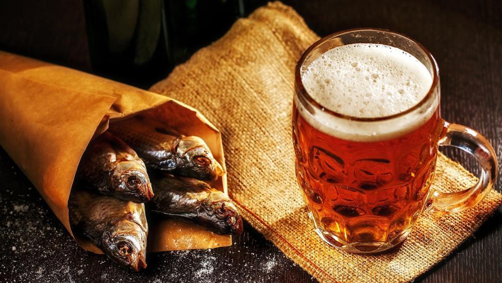 Fish and beer wallpaper