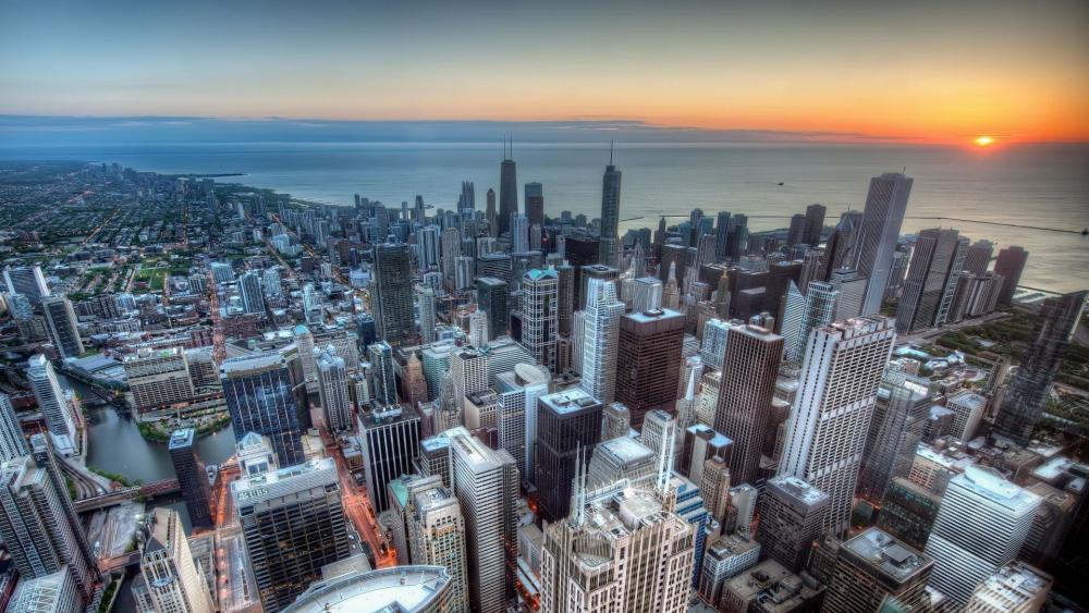 Chicago from Willis Tower wallpaper