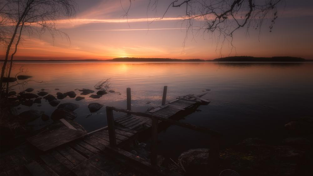 Old jetty in the sunset wallpaper