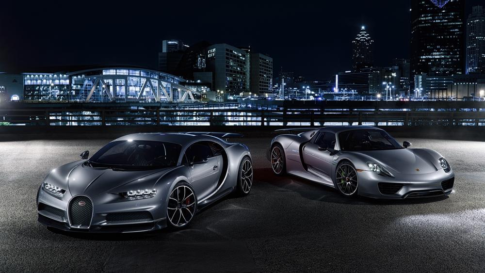 Bugatti Chiron and Porsche 918 wallpaper
