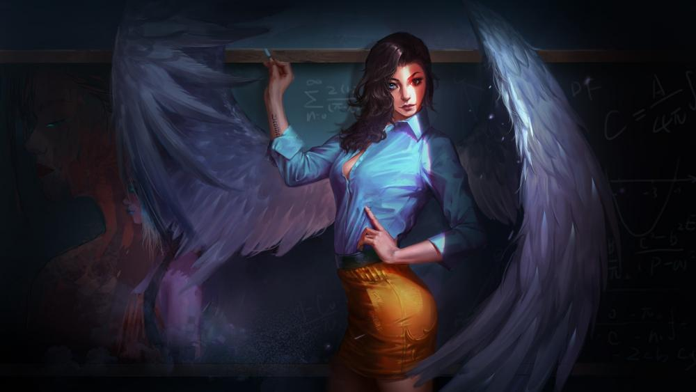 Fantasy angel teacher wallpaper