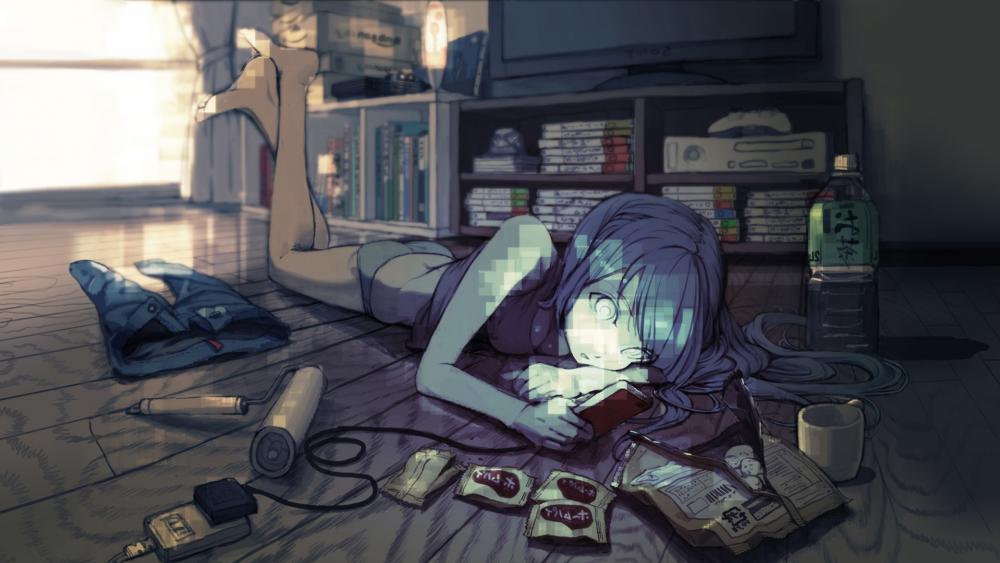 Blue-haired anime gamer girl wallpaper