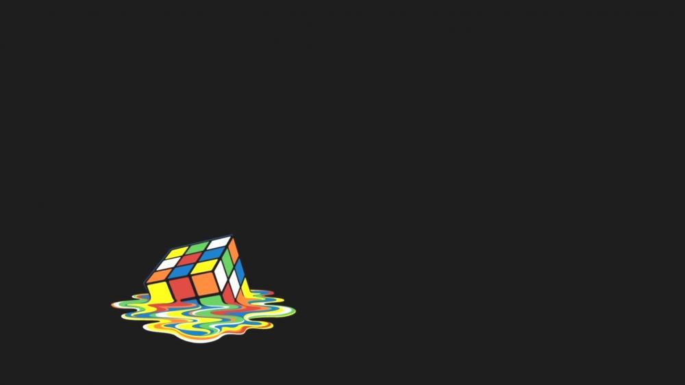 Melting Rubik's Cube wallpaper