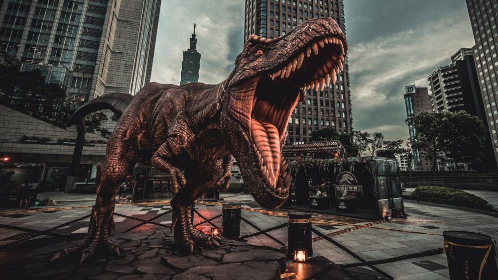Dinosaur sculpture wallpaper