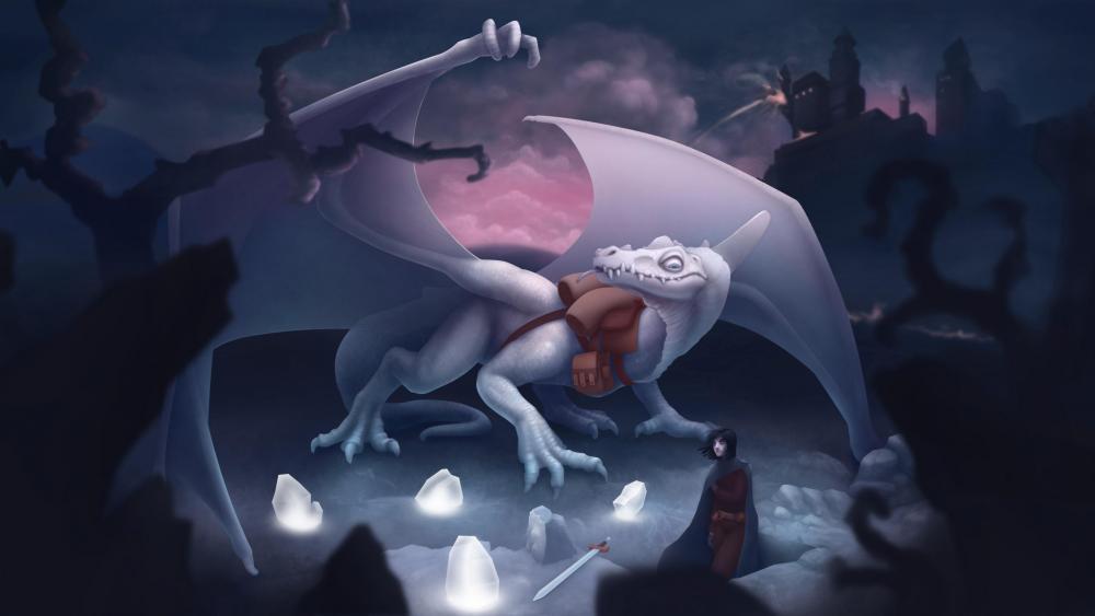 White dragon at night wallpaper