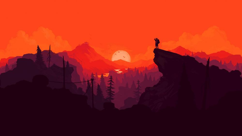 Red minimal landscape wallpaper