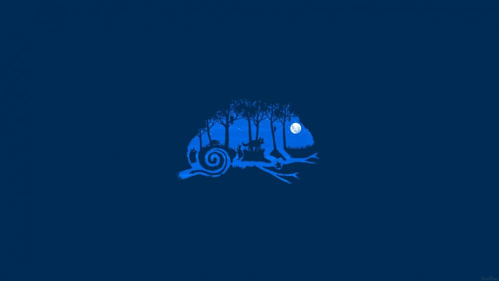 Blue chameleon minimal digital art wallpaper