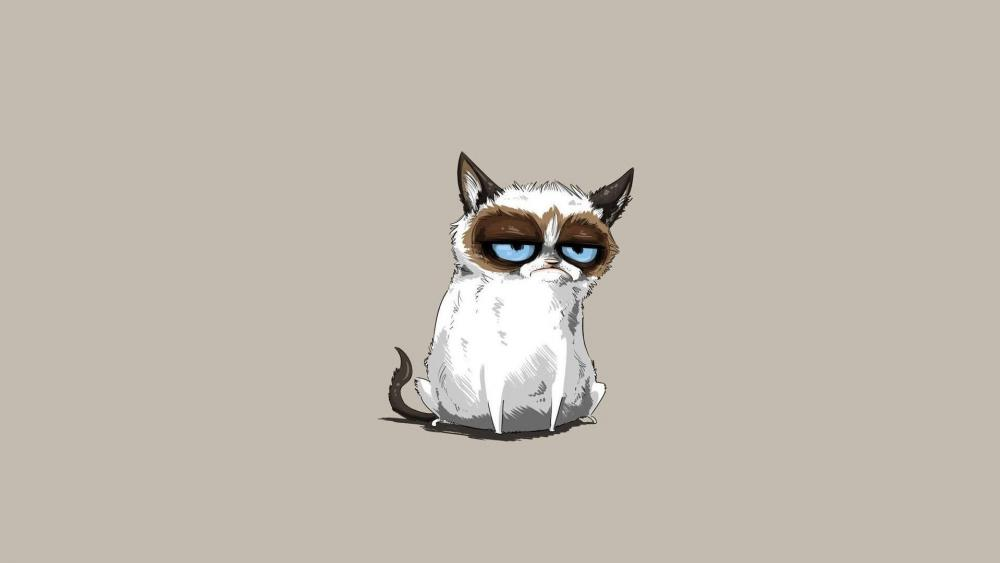 Cartoon grumpy cat wallpaper