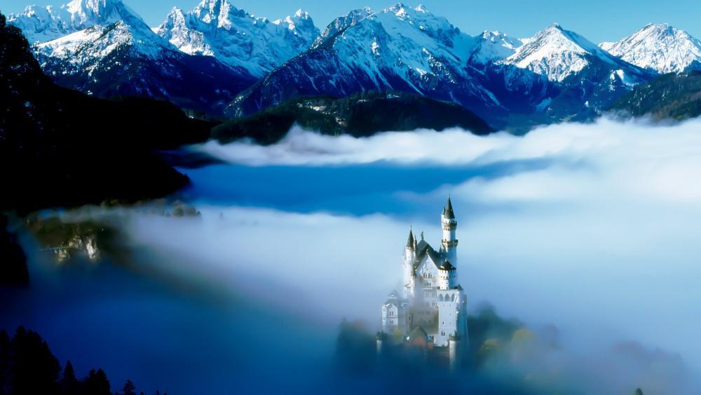 Neuschwanstein Castle in the clouds wallpaper