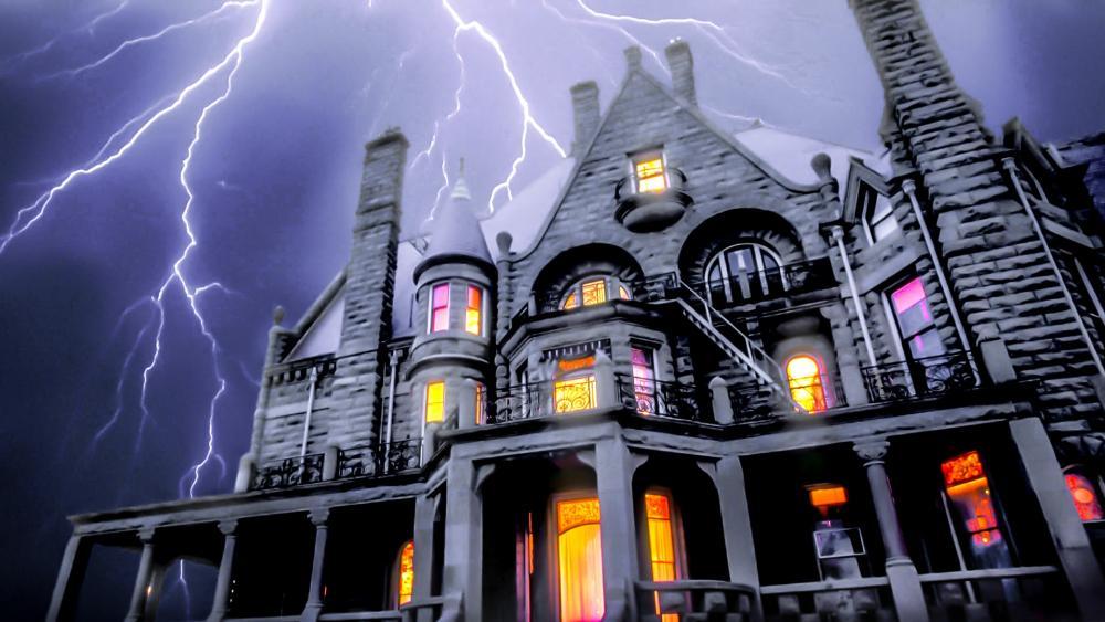 Craigdarroch Castle with lightning strikes wallpaper