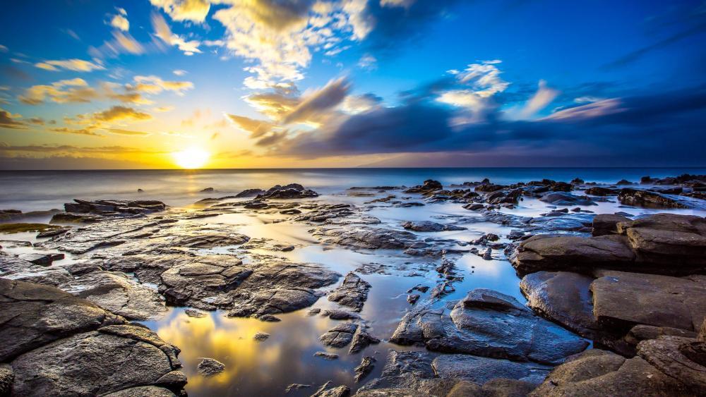 Sunset fromthe seashore wallpaper