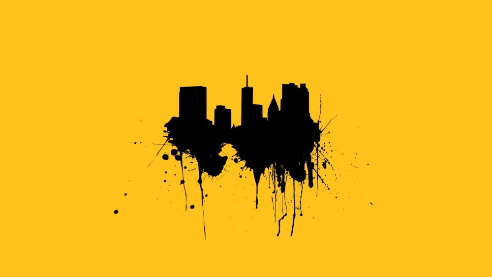 Black and yellow splash art wallpaper